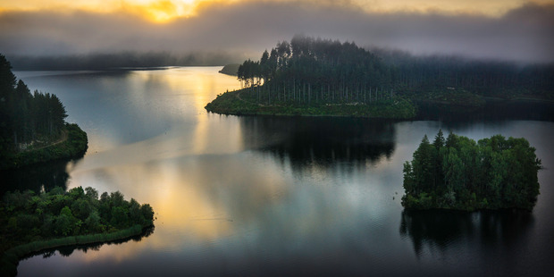 Sunrise at Lake Rotokakahi. Drone photograph by Stephen Parker.