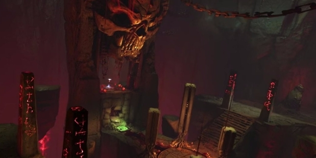 Infernal has some fun features, like a giant skull and satanic pentagrams. Image / id Software