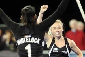 Kayla Whitelock (left) celebrates the Black Sticks first goal against Ireland with Anita Punt. Photo / Paul Taylor