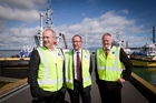 TAURANGA TOUR: From left, Labour's Phil Twyford and Andrew Little at the Port of Tauranga with chief executive Mark Cairns as part of their Bay visit. PHOTO/ANDREW WARNER