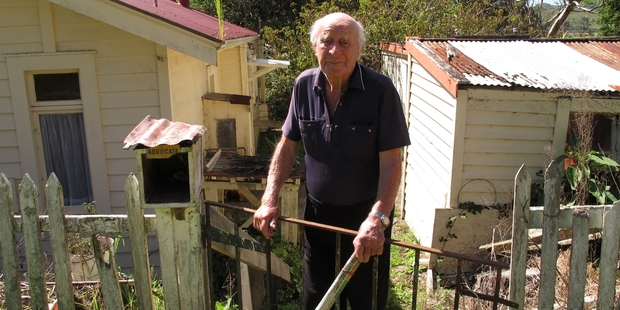 NO PLACE LIKE HOME: Bill Tuckey outside the Rawene home he has lived in for more than 60 years.