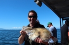 Lee Small scored a bonus when a large john dory took his bait. Photo / Geoff Thomas