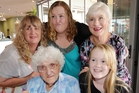 Napier centenarian Joyce Larkin with the succeeding generations at a family celebration. Others are: Rear (from left) granddaughter Tina Adam, great-granddaughter Glenda Towgood  (Tina's daughter) and daughter Faye Andrews (Tina's mother), and in front great-great-granddaughter Courtney Towgood. Photo / Paul Taylor