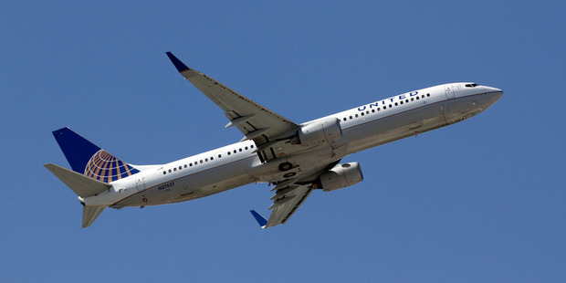 A United Airlines aircraft. A flight attendant took an unconventional route out. Photo / AP