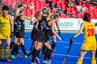 GOAL: The Black Sticks women's team celebrates one of Gemma Flynn's two goals in their match against China in the Hawke's Bay Festival of Hockey in Hastings today. PHOTO/SUPPLIED.