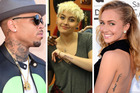 Chris Brown, Paris Jackson and Hayden Panettiere are all stars with tattoos, some not as good as others. Photo / Getty Images, Instagram