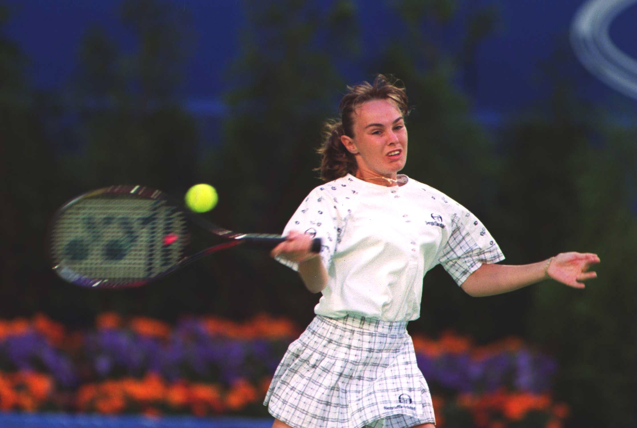 Martina Hingis participating at the Australian Open, aged 16