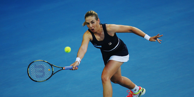 Marina Erakovic plays a forehand during the ASB Classic. Photo / Getty Images