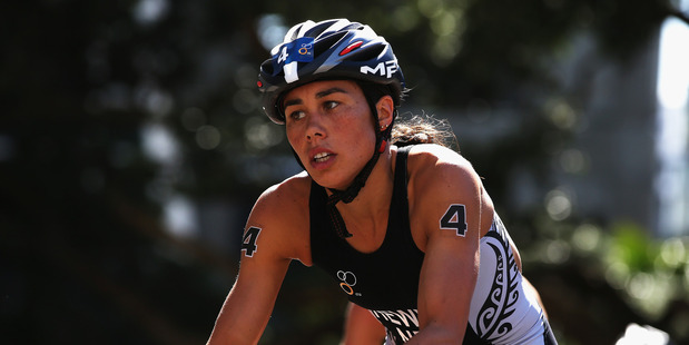Andrea Hewitt races in the ITU World Triathlon Elite Women's race in Auckland. Photo / Getty Images