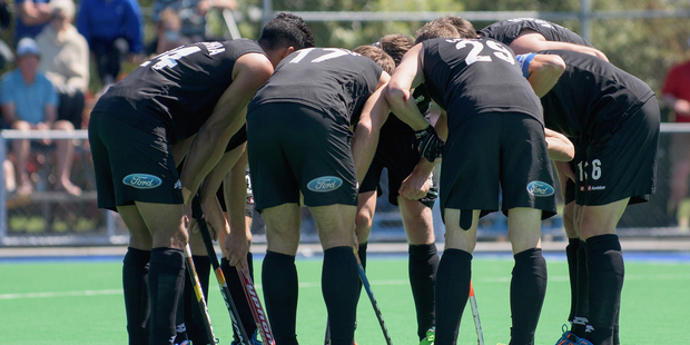 The men's Black Sticks at the international men's hockey test against India. Photo / Getty Images