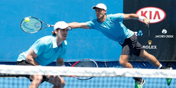 Marcus Daniell and Artem Sitak of New Zealand compete during the Australian Open. Photo / Getty Images