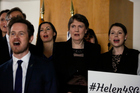 Former New Zealand Prime Minister Helen Clark sings Waiata. Photo / Getty