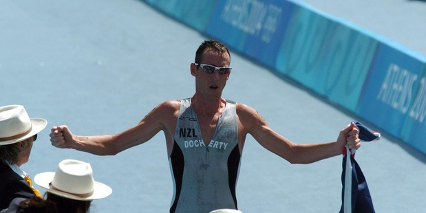 Bevan Docherty celebrates his silver medal crossing the finish line at the Athens Olympics. Photo / Getty Images
