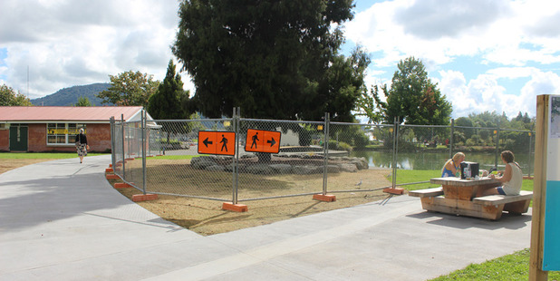Work on the next stage of improvements in Kuirau Park is beginning at the number one foot pool which has been fenced off while work is underway.  Photo/Supplied