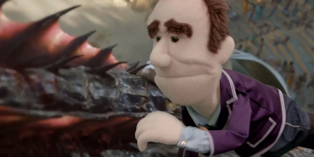 Puppet Mike Hosking commutes to work on a Game of Thrones dragon. Photo/WatchMe