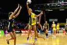 Chelsea Locke (R) of the Pulse controls the ball from Katherine Coffin (L) of the Waikato Bay of Plenty Magic during the round one ANZ Championship match. Photo / Getty Images.