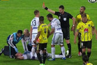 Berisha is shown a red card while receiving treatment. Photo / Twitter.