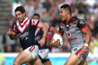 Roger Tuivasa-Sheck of the New Zealand Warriors on his way to a match winning try in golden point against the Sydney Roosters yesterday. Source / Getty Images