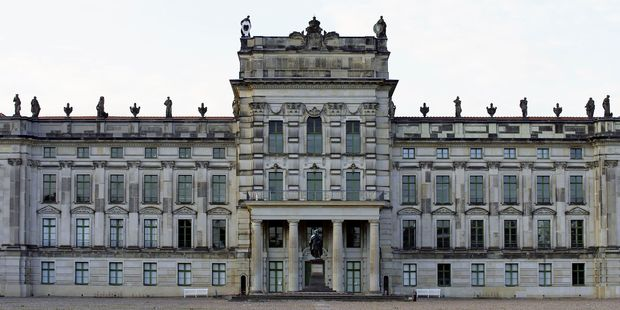 The grand entrance of the newly refurbished Ludwigslust Palace in northeastern Germany.