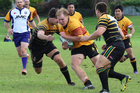 Te Puke Sports player Grayden Sheres takes the ball up against Greerton Marist in Saturday's 39-36 thriller. PHOTO/RICK MORAN