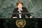 Helen Clark will be laying low in New York this week preparing for her crucial appearance at the UNGA early Friday about her bid to run the show. Photo / United Nations