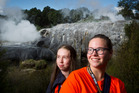 Chantelle Cobby. 17, and Sophie Jansonius, 15, from Rotorua Girls' High School  enjoying learning new things. Photo / Stephen Parker