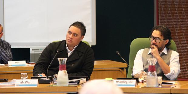Rotorua Lakes Council's Te Tatau o Te Arawa  Board members  Rawiri Waru, left,  and Potaua Biasiny-Tule in council today.