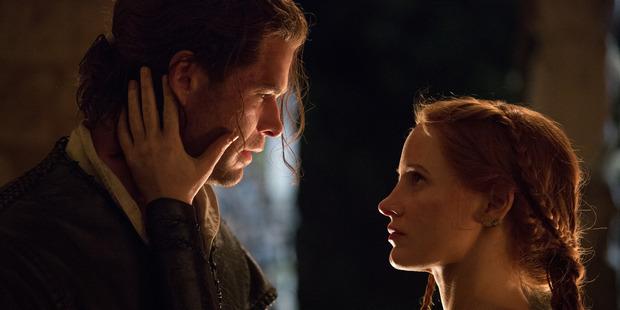 The Huntsman: Winter's War stars Chris Hemsworth and Jessica Chastain.