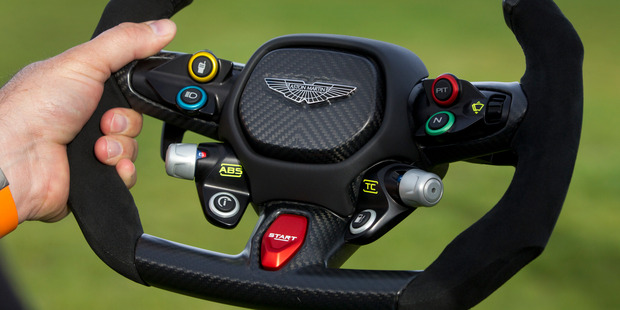 The steering wheel from the new Aston Martin Vulcan. Photo / Alan Gibson