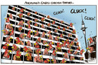Caged Chicken Farms - and Auckland's skyline. Illustration / Rod Emmerson