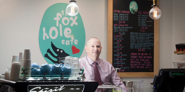 Mount Maunganui RSA Manager Andrew Buenter at the new public Foxhole Cafe. Photo/Andrew Warner.