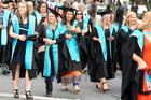 Waiariki Institute of Technology graduation march through town yesterday.  Photo/Ben Fraser