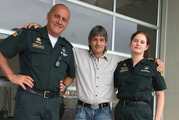 Andrew Jones (centre), with paramedics Peter Holloway and Rachael Wallen. Photo / Cherie Howie