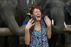 Elephant kisses in Chiang Mai, Thailand. Photo / Anne Cowell