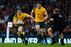 David Pocock of Australia goes past Owen Franks of New Zealand during the 2015 Rugby World Cup. Photo / Shaun Botterill
