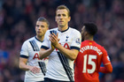 Tottenham's Harry Kane, centre, applauds supporters after his team drew 1-1 in the English Premier League soccer match between Liverpool and Tottenham. Photo / AP.