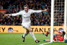 Real Madrid's Gareth Bale celebrates after scoring a goal that was later disallowed during a Spanish La Liga soccer match between Barcelona and Real Madrid. Photo / AP.
