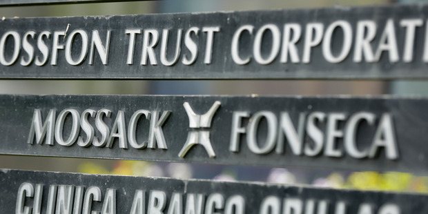 A marquee of the Mossack Fonseca law firm, in Panama City. Photo / AP