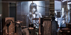 An image of Mick Jagger forms the backdrop of a recreated music studio. Photo / AP