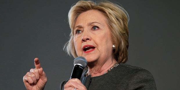 Democratic presidential candidate Hillary Clinton speaks during a campaign stop. Photo / AP