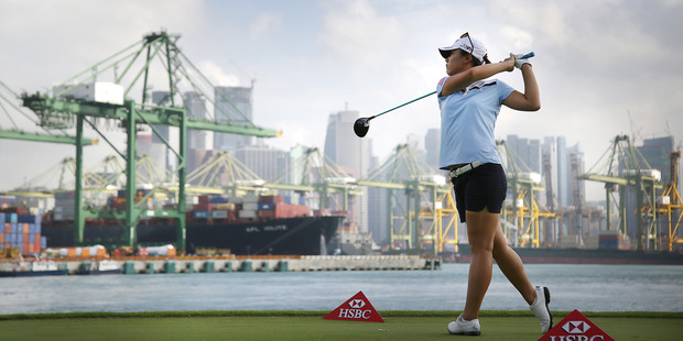 Lydia Ko tees off on the 6th hole during the second round of the HSBC Women's Champions Golf tournament in Singapore. Photo / AP
