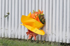 A bouquet of flowers sits near the scene where Ocean Heke was found dead early on Sunday morning. Photo /  Alan Gibson