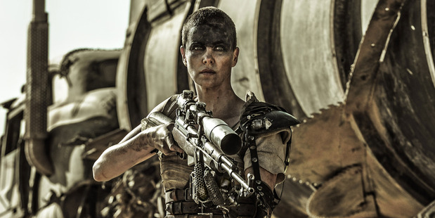 A scene from the movie Mad Max: Fury Road starring in Charlize Theron.