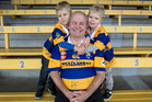 Fomer Bay of Plenty and All Black rugby player Greg Rowlands pictured with his two grandsons Flynn Rowlands,4,  and Reid Rowlands,3, at the Tauranga Domain.  Photo / Alan Gibson