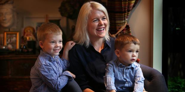 Blink PR director Natalie Bridges with sons Emlyn, 4, and Harry, 2. Photo/John Borren