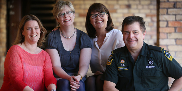 Assault victim Lucy Knight with the people who came to her aid. Pictured (from left) are Vanessa McCall, Lucy Knight, Hazel James and ambulance officer Phil Hewetson. Photo / Doug Sherring
