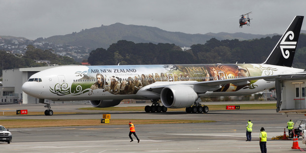 The Hobbit-themed Air NZ 777 arriving at Wellington International Airport. Photo / Mark Mitchell