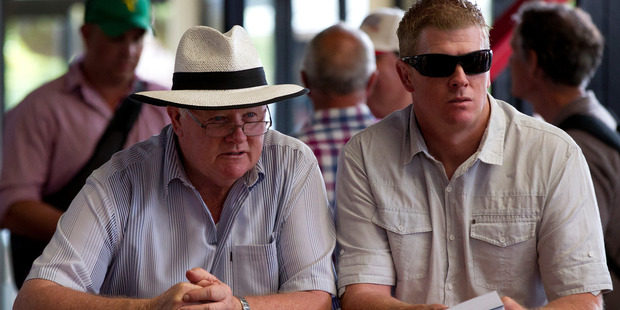 Graeme Sanders (L) and son Mark Sanders at the Karaka Sales. Photo / Sarah Ivey