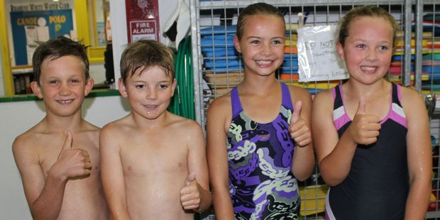 Ruahine School's winning junior relay team. Sam Stratford (left), Connor Christian, Shona Caswill and Olivia Augustine.