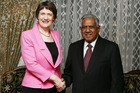 Helen Clark with the President of Singapore, Sellapan Ramanathan. Photo / NZPA